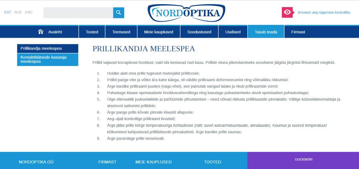 Nordoptika veebilehe loomine