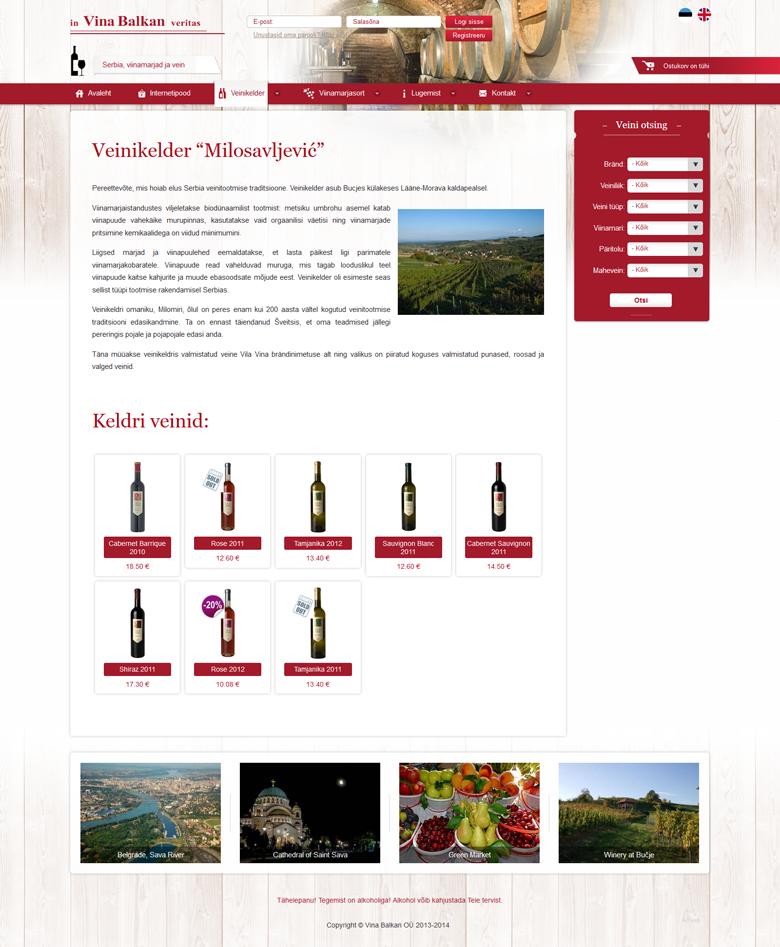 Serbia veinide kodulehe ja e-poe Vina Balkan loomine