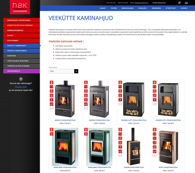 Creation of Hansakamin OÜ website with product catalogue